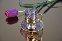 Glass golden/silver/copper plated tea cups and saucers set