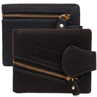 New Zipper Synthetic Leather Card Holder Bi-Fold smart wallet for men SV019319