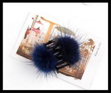 2015 New Trend Lovely Navy Blue Mink Fur Headwear For Lady