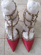 ladies high heels women studded Pointed toe studded Ankle Wrap Ankle straps buckle Pink Red spikes Smooth Leather Pumps