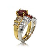 2015 fashion gold and rhodium plated women ruby ring set R7512A