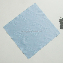 emboss logo printed microfiber eyeglass cloth with zig zag cutting edge