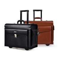 2014 New PU Leather 360 degree spinner wheels Trolley Laptop luggage case