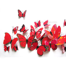Simulation Stereo Red Butterfly PVC Removable Bathroom Waterproof Wall Quote Sticker