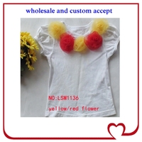 yellow and red flowers girls boutique summer clothing,top quality T-shirt