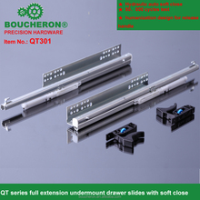 Full extension concealed drawer slide with hydraulic soft close as silent system,undermount soft close automatic drawer slides