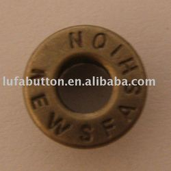 brass garment eyelet with hollow cap
