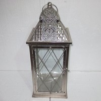 Silvery gray metal candle lantern for outdoor decoration
