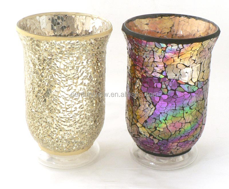 Wide Mouth Gold Purple Glass Mosaic Design Vase Used Decorage Buy