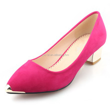 Classic pumps upper metal decoration shoes women mid heel shoes with competitive price ebay china website office lady shoe