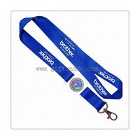 blue thick badge lanyard with silk screen printing
