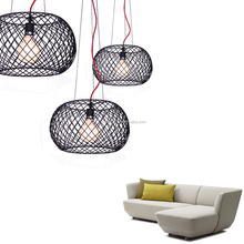 Modern Home Decorative LED Light Black Iron Reticular Shape With Red Color Cable Pendant Light