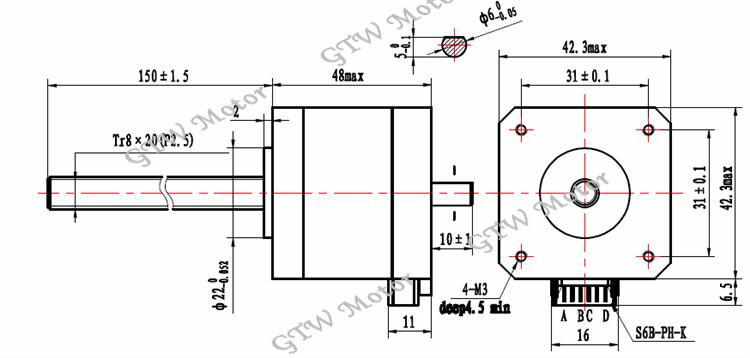 nema 17 high torque lead screw stepper motor with dual