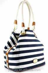 Striped canvas cosmetic bag