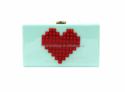 New love heart shape bead acrylic clutch bags lady clutch bag with factory produce