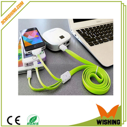 High speed 3 in 1 colorful universal usb cable micro usb charging cable date line for smart phone/iphone /MP3