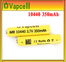 2015 Newest Genuine Vapcell li-ion battery IMR 10440 3.7V 350mah for electronic product