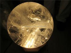 larges clear quartz rock crystal sphere healing balls,crystals healing balls wood pedestal with LED light