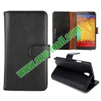 Litchi Texture Stand flip case cover for samsung galaxy note3 neo