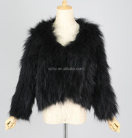 QC3125 -4 black new collection natural knitted raccoon dog fur jacket/coat with lining 2015 real fur for women