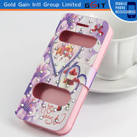 Elegant Flip Cover Back Case With Two View Windows For Samsung S4 i9500, Double Windows Leather Case For Galaxy S4 i9500