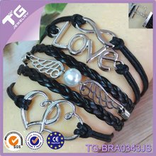 Hot Sale Fashion Infinity Love Pearl Bead Between Angle Wing Double Heart Handmade Rivets Bracelets