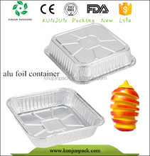 Cheap Eco-friendly Square Aluminium Frozen Food Tray Packaging