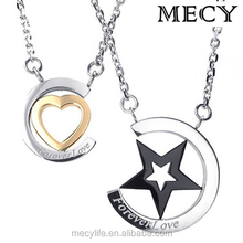MECY LIFE hot sale high quality stainless steel heart and star couple necklace