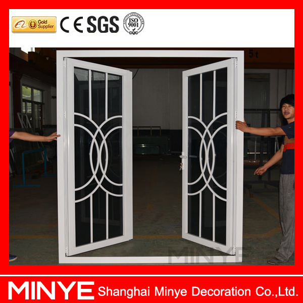 China suppliers aluminum front double door grill design for French main door designs