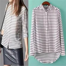 Desigual Female Women 2015 New Arrival Tops Blusas European Lapel Long Sleeve Striped Dipped Hem Loose Blouse