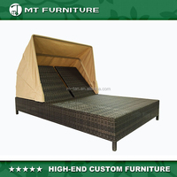 rattan wicker double chaise lounge with canopy
