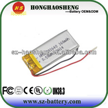 hot sale best price rechargeable 301640 3.7v li-ion polymer battery 160mah
