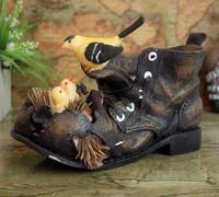 Creative animal resin funny bird shoe shaped flower pot