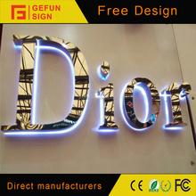 3D illuminated LED Backlit Stainless Steel led channel letter sign