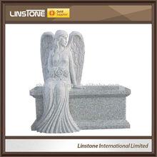 Angel granite bench tombstone