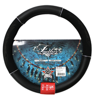 Car steering wheel cover Handle cover PVC and polished leather white T.P.E tube S size
