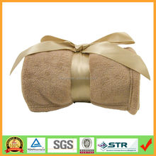 Best Promotion gift Coral fleece plush throw blanket with silk ribbon