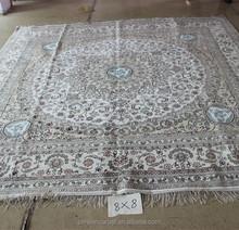 2015 New design handmade for adults /kids home textile silk carpet 8x8 square shape