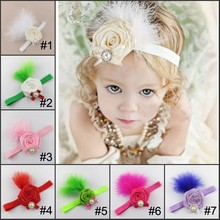 Handmade Hot Sell Hair accessories stretch elastic Kids rose flower Bow Headband