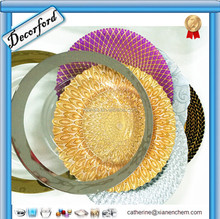 Hot Crystal Clear Colorful Gold and sliver Beaded glass charger plate
