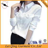 Newest model long white ladies tie neck shirt