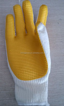 yellow latex rubber palm coated safety gloves industrial building gloves