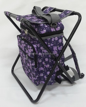 Romantic purple cooler stool with backpack and shoulder straps