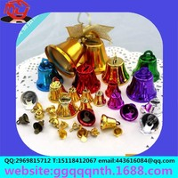 Wholesale Free shipping 15x16mm Merry Christmas decorationS mixed Colorful Small Iron Clock horn Shaped metal gold color Bell