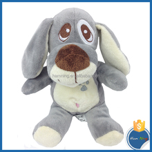 sitting grey dog with embroidery design big eyes plush toys stuffed dog doll for kids