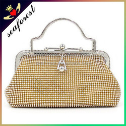 Latest fashion pretty luxury crystal evening bags,gold evening bag with handle,evening clutch bags