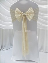 elegant champagne lace chair sash for wedding decor