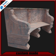 pink garden stone bench with backrest