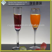 Unique Design Hot Promotional wedding Champagne Glass with Gold Rim RXG532