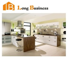 LB-JL1135 Modular lacquer and wood veneer kitchen cabinet with color combinations